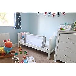 Venture Qfix Barrière de lit, rail de lit portable et pliable 99cm x 42cm, Blanc, Gris