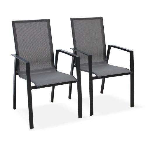 Alice's Garden Lot de 2 fauteuils - Washington Anthracite - en Aluminium Anthracite et textilène Gris foncé, empilables