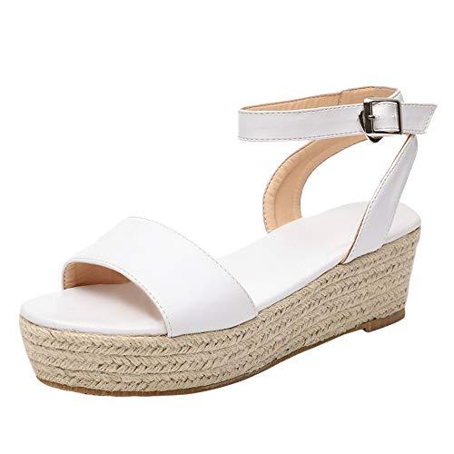 Heflashor Damen Sandalen Sommer Elegant Espadrille-Sandalen Flach Peep Toe Bequeme Plateauschuhe knöchelriemen high Heel 6-8 cm (38 EU, Weiß A) Heel Peep Toe Sandale