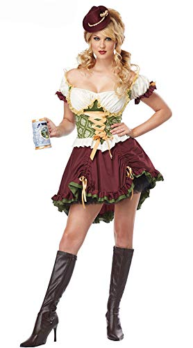 Kostüm Mädchen Kellner - fagginakss Cuteelf Frauen Retro Oktoberfest Cosplay Damen Bayerischen Kurzarm Kellnerin Oktoberfest Cosplay Bier Mädchen Restaurant Kellner Kleid Spaß Spielen Kostüm