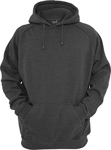 Urban Classics TB014 Sweatshirt, Hoodie Herren, Kapuzenpullover einfarbig, Grau (grey) (Charcoal), Gr. M (Grau Logo Sweatshirt Hoodie)
