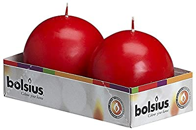Bolsius Ball Candle, Paraffin Wax, Red, Pack of 2 from Ivyline
