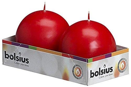 Bolsius Outdoor Kugelkerzen, für Innen- und Außenbereich, 70 mm, 2 Stück, rot