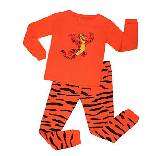 (YuanDian Jungen Mädchen Weihnachten Pyjama 2 Stück Set Schlafanzüge Cartoon Drucken Stickerei Nachtwäsche Kids Weihnachtskostüm Tops Shirts & Hose Outfit 80-130 Tiger 6 Jahre)