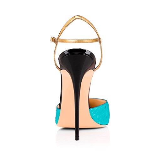 Onlymaker Damen Sandalen D'Orsay Stiletto Pointed Toe Knoechelriemen Schnalle Blau