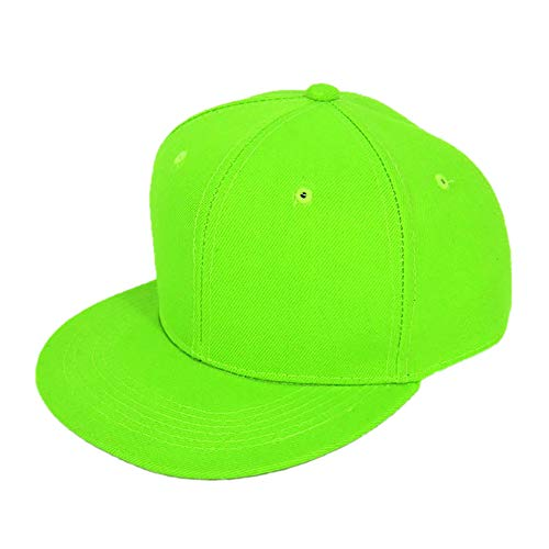 Opromo Unbedruckte Flache Bill Baseball - Cap, Snapback Hip Pop - M¨¹Tzen mit Hut, 15 Green-1pcs Neon - Farben