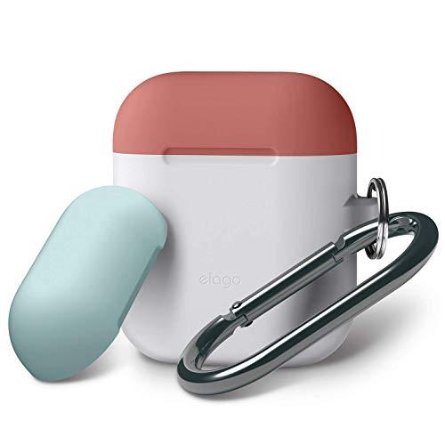 elago AirPods Tasche Duo Hang Silikonhülle mit karabiner für Apple AirPods Aufladen Case (Body-Nachtglühen Blau/Top-Italienische Rose, Coral Blau)
