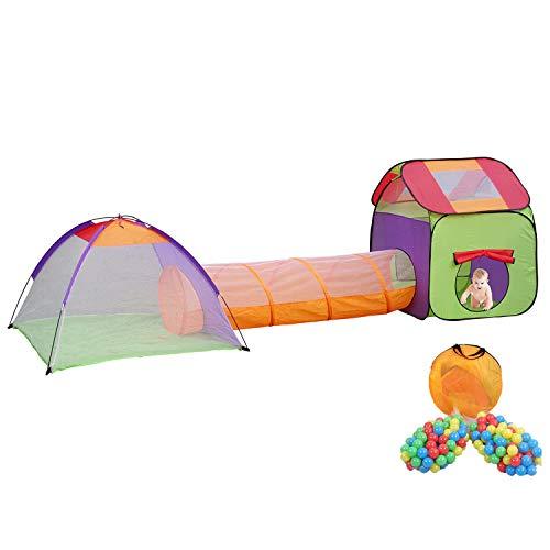 MC Star Plegable Tienda de Campaña Niños Pop-up Qarque Infantil Juego Túnel Interior y Exterior Casa de Juguete y Piscina, 3 partes +200 Oceano Bolas,Multicolor