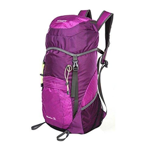 FakeFace Unisex Faltbarer Explorer Wanderrucksack Trekkingrucksack mit Regenhülle Wasserdicht Ultra Leicht Reißfest Trek Sport Freizeit Wandern Urlaub Camping Bergsteigen 55 x 32 x 23CM Violett