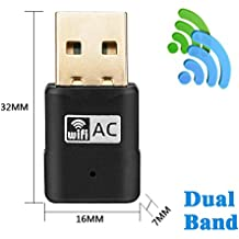 tinxi® WiFi Dual Band USB Adaptador AC 5G 600Mbps, Network Adapter WiFi Dongle 2.4GHz 150Mbps or 5GHz 433mbps , Compatible con Windows 2000/XP/Vista/7/8/10