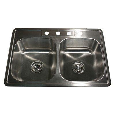 Nantucket Sinks NS3322-20-DE 33-Inch Drop-In Stainless Steel Double Bowl Kitchen Sink by Nantucket Sinks (Küchenspüle 33 Zoll)