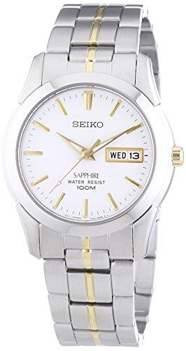 Seiko SGG719P1 – Reloj analógico de caballero de cuarzo con correa de acero inoxidable plateada – sumergible a 100 metros