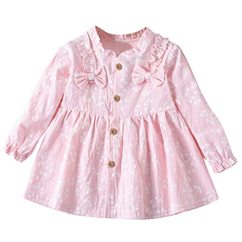 YUAN Mädchen Kleid, Kleinkind Baby Langarm solide Geraffte Blumen Blume Bogen gekleidet Kleidung