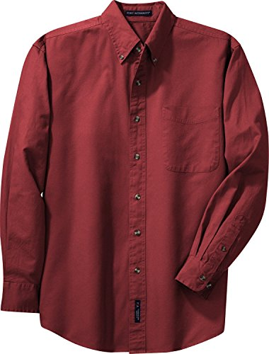 Autorità portuale Men's-Maglietta a maniche lunghe in tessuto spigato Bright Burgundy