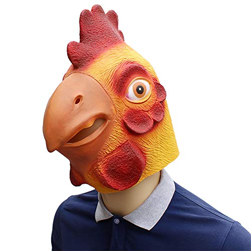 Kostüm Chicken Head - Halloween Chicken Head Mask Früher Kostüm für Erwachsene, Vollgesichtsmaske, Unisex Single Size, für die Verkleidet Nacht/Karneval/Weihnachten Halloween-Party