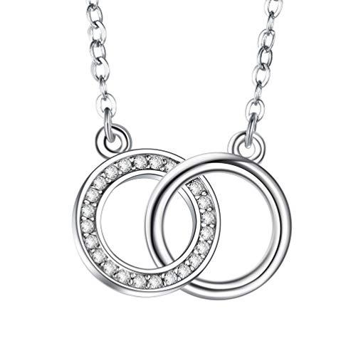 J.Endéar Kette Damen 925 Sterling Silber,Frauen Halskette mit süße romantik liebe Doppel Ring Anhänger Weihnachten Geschenk für sie