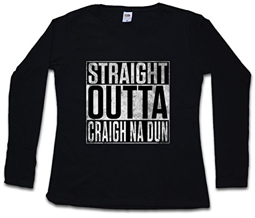 Urban Backwoods Straight Outta Craigh NA Dun Woman Donna T-Shirt A Manica Lunga – Taglie XS – 2XL Nero