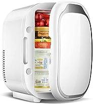 JNSW Makeup Fridge, 6L Portable Cosmetic Refrigerator, Glass Panel And Led Lighting, Cooler/Warmer Freezer, Us