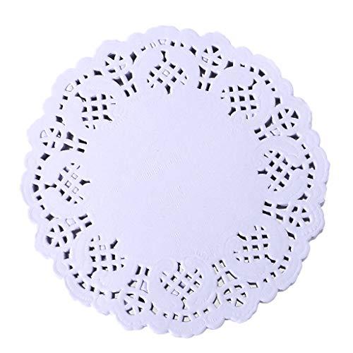 Lunji 100 Stück Deckchen, Spitze, aus Papier, hübsch, Untersetzer für Hochzeitsdekoration