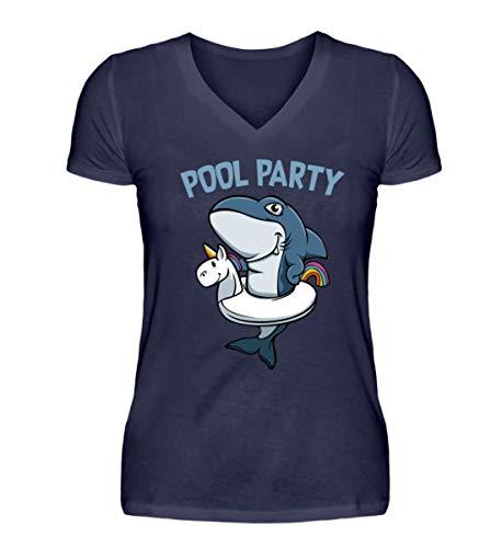 Kleidungskulisse Pool Party Haifisch Mit Einhorn Schwimmreifen Ideales Geschenk für Party Gäste Urlauber - V-Neck Damenshirt -XL-Dunkel-Blau -