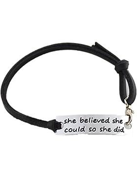 Bodya Vintage-Armband , schwarzes Lederarmband mit inspirierendem Spruch auf Silber-Anhänger: