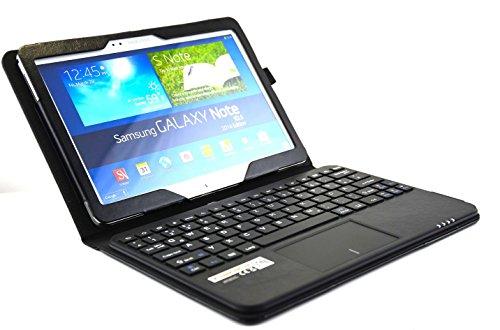 SonnyGoldTech - Galaxy Note 10.1 2014 Tasche mit Tastatur und integriertem Touchpad Deutsches Layout | Galaxy Note 10.1 2014 Edition Hülle mit Bluetooth Tastatur und Touchpad für Note 10.1 2014 WiFi SM-P600 und Note 10.1 2014 LTE SM-P605| Schwarz