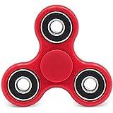 Tri Spinner De Dedo, Juguete Para Relax Y Práctica De Niños Adultos (Rojo-Negro)