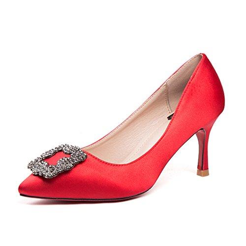 Arbeitsschuhe Neue Frühling Herbst High Heels Stilettos Sexy Strass Quadrat Tasten Flacher Mund Gericht Schuhe Pumps Für Arbeit Party Dating,Red-EU:40/UK:7