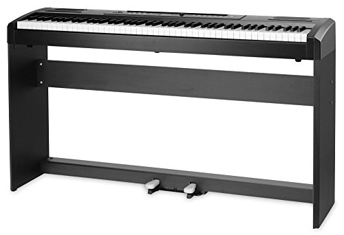 Classic Cantabile SP-100 Stagepiano Set mit Ständer (E-Piano, Unterbau aus Holz, Sustain-Pedal, Soft-Pedal, Hammermechanik, 88 Tasten, Kopfhöreranschluss, Aufnahmefunktion) schwarz