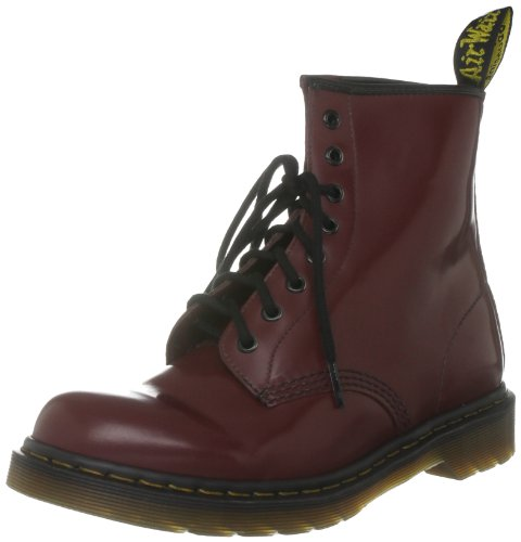 Dr. Martens 1460 Milled Smooth 8 Eye, Brogues Mixte Adulte Noir(Rouge Bordeaux)