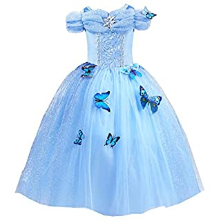 About Time Co Girls' Butterfly Princess Ball Gown Fancy Dress 7-8 years (Blue)