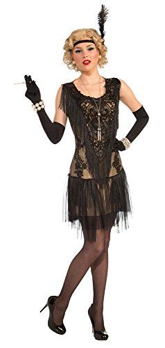 20er Jahre Charleston Flapper Damen Kostüm Kleid schwarz Jazz Mafia - Grösse (Kostüm Kleid Flapper Schwarzes)