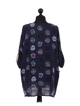 New Italian Ladies Women Lagenlook Polka Dots Cotton Tunic Top Plus Size 16-24 (Navy) 3