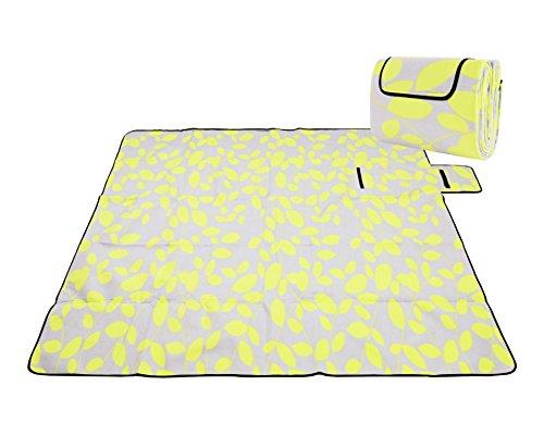 Honeystore Flanell Wasserdichte Yoga Matte Strand Ausflug Picknickdecke Mit Tragegriff 200*150 CM Schnittgrün