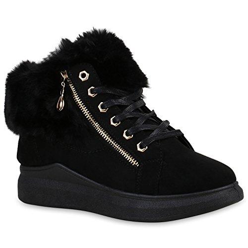 Damen Schuhe Sneaker Wedges Warm Gefütterte Plateau Kunstfell 152770 Schwarz Zipper Bexhill 40 Flandell