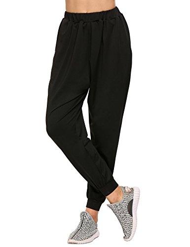 Coorun Frauen-Art und Weise taillierte elastische beiläufige Sport-Harem-Hosen Schwarz