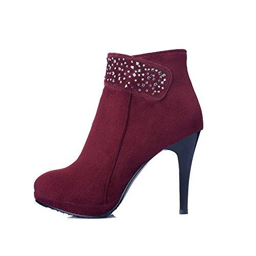 VogueZone009 Donna Tacco Alto Alla Caviglia Puro Cerniera Stivali con Studded Strass Chiaretto