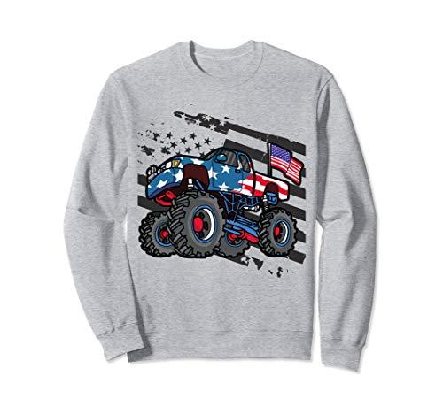 American Flag Trucker- Men Women Boys Monster Truck Racing  Sweatshirt