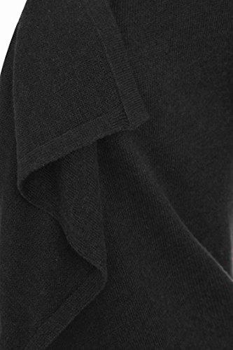 Roman Originals - Cardigan Uni en Cascade Manches longues Ouvert - Femme Noir