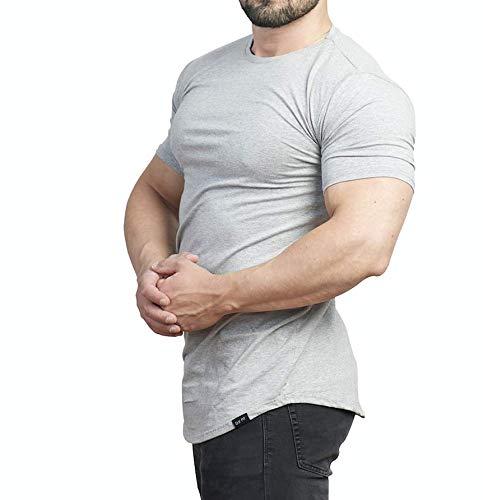 D.K Fit Premium Herren Oversize T-Shirt - Muscle Fit - Perfekt für deinen trainierten Körper (Medium, Grey)