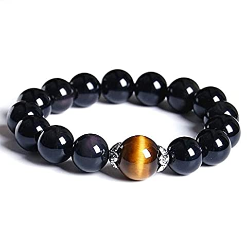 ShankMing Natural Genuine Agate Stone Bead Bracelet with Yellow Unique Tiger Eyes for MEN and WOMEN (20CM=7.8 Inch)