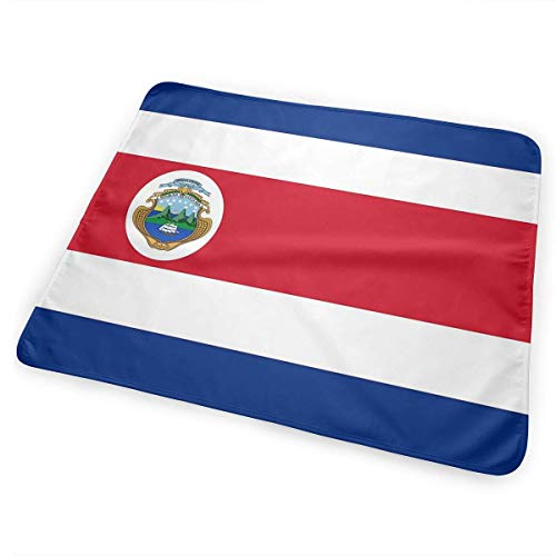 Kotdeqay Costa Rica Flag Polyester Flag Baby Crib Pee Mat Washable Urine Bed Pads Absorbent Reusable Changing Pad Mattress