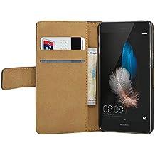 Membrane - Negro Cartera Funda Carcasa para Huawei P8 Lite - Wallet Case Cover + 2 Protector de Pantalla