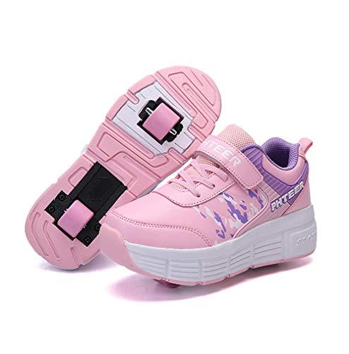 Homesave Kinder Schuhe mit Rollen Jungen Skateboardschuhe Mädchen Skateboard Schuhe LED Roller Skate Schuhe Sneakers Laufschuhe Sportschuhe mit Rollen für Mädchen Jungen,PinkDouble,36EU