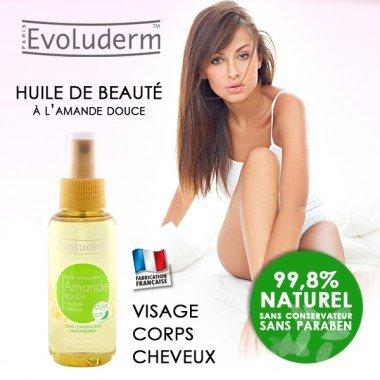 Evoluderm - Huile de beauté à l'amande douce 100ml Fabriqué en France