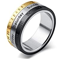 Titanium Steel Rotating Personalized Fashion Men Rings-9US
