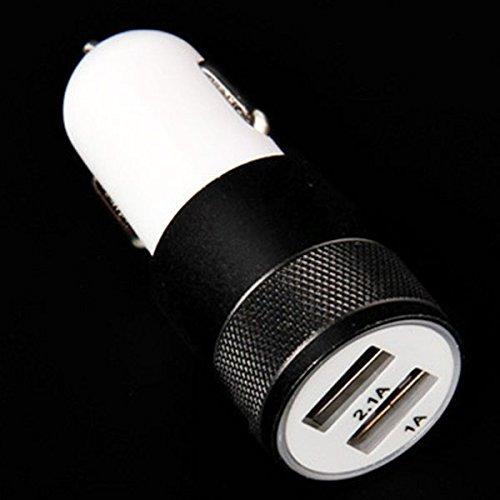 sibaina Chargeur de voiture Double USB, Or Luxe Chargeur de voiture Double USB, chargeur Micro USB 2ports en aluminium, 2,1A 1.0A auto adaptateur chargeur voiture USB Port pour téléphone mobile Tab noir