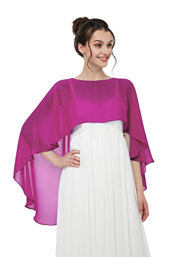 TBdresses Chiffon Braut Hochzeit Capes Wraps Frauen Abendkleid Stola Brautjungfer Schals Braut Wrape (Einheitsgröße, Rose) Rosa Chiffon Wrap