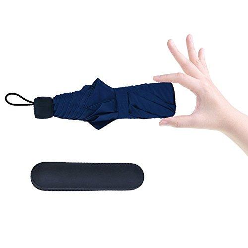 Gracetop ombrello pieghevoleombrello da viaggio con custodia impermeabile tessuto idrorepellente e telaio in vetroresina (Blu)