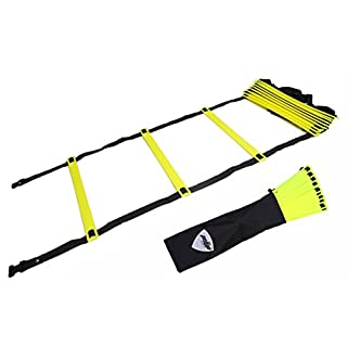 Pepup Unisex's Super Flat 12 Rungs Adjustable Speed Agility Ladder-Yellow, 6 m